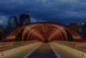 The entrance to Calgary, AB's famous Peace Bridge.