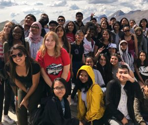 Group of young immigrant and refugee Calgarians on a trip.